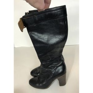 Fiorentini + Baker Black Leather Knee High Boots